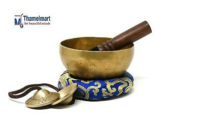 "5.5"" Hand Hammered Tibetan Meditation-singing bowl-free Tingha made in Nepal"