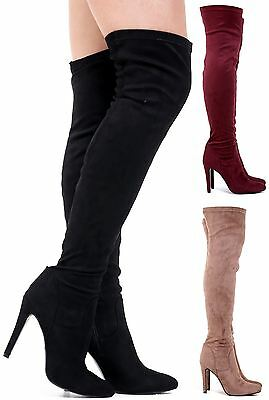 New Ladies Womens Stretchy Faux Suede Stiletto Heel Pointed Toe Thigh High Boots