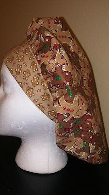 Gingerbread Women's Bouffant Surgical Scrub Hat/Cap Handmade