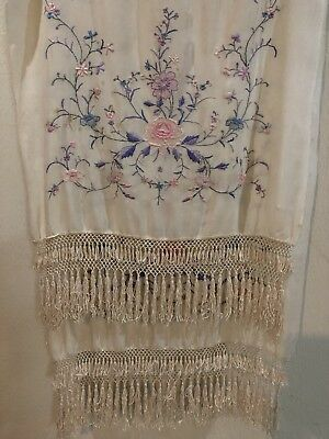 """Antique Chinese Hand Embroidery Silk Piano Shawl  24"""" X 75""""Fringe 6"""" Scarfs"""