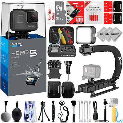 GoPro HERO5 4K12MP Ultra HD Camcorder w/ 16GB - 30PC Sports Action Bundle