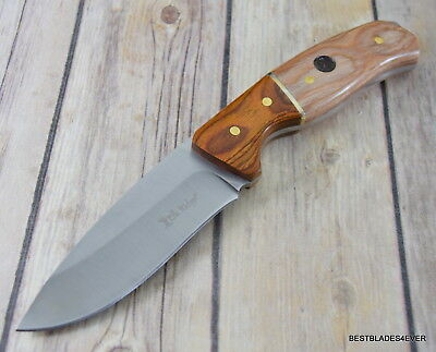 9 Inch Elk Ridge Fixed Blade Hunting Knife Wood Handle Full Tang With Sheath