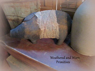 "Primitive Country Stuffed Fabric Cinnamon Dusted Pig * Aged Cheesecloth 15"" x 8"""