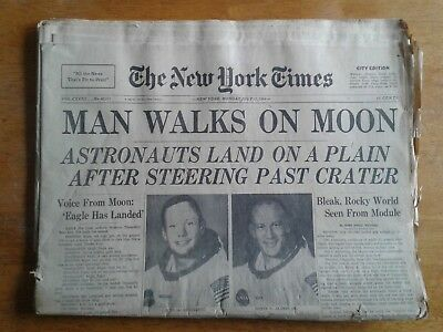Man Walks On Moon. New York Times. City ed. 1969. Unread. Full 68 Pages.