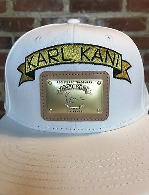 0bca528a3c195 Karl Kani 39Thirty White Embroidered Logo   Leather Metal Patch Snapback Hat   3