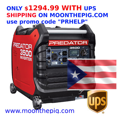 New Predator 3500 Watt Super Quiet Inverter Generator UPS SHIPPING TO PR