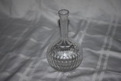 Antique Cut Glass Crystal Cologne Barber Perfume Bottle Decanter Thin Neck