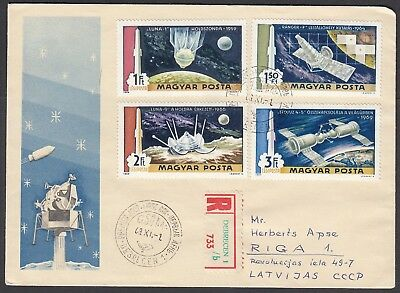 T69 Hungary Registered Space Cover To Riga 1969 Luna Ranger Sojuz