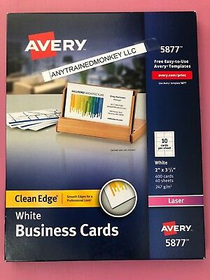 """Avery 5877 White Clean Edge Business Cards 2"""" x 3.5"""" 400 Count Free Ship"""