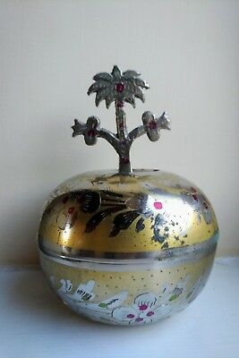 Beautiful old Cloisonne Oriental Islamic trinket pot with Palm Tree