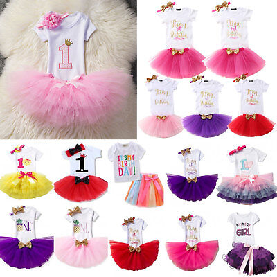 Baby Girls Kids First 1st Birthday Tulle Tutu Skirt Dress Party Princess Outfits