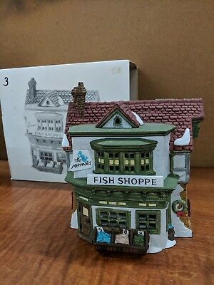"Vintage Dickens Village ""the Mermaid Fish Shoppe"" #59269 Retired 1988"