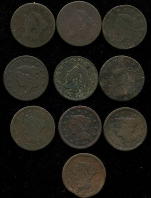 1816 - 1854 US Large Cent - 10 Coin lot
