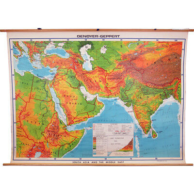 Denoyer-Geppert Pull Down Map South Asia and the Middle East Visual Relief 1981