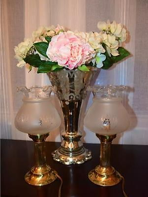 SET of 2 Rare vintage Brass Victorian Lamps -  frosted etched glass globes