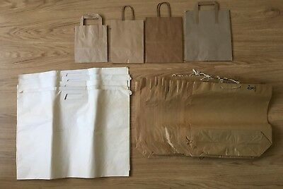 23x brown white LARGE PAPER BAGS carrier small carry handle plain food clothes