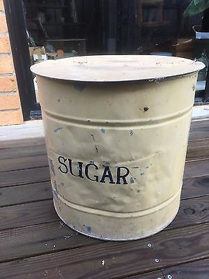 Antique vintage small galvanised metal animal stock feed bin food drum 2