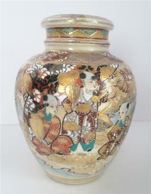Antique Japanese Satsuma Gold Moriage Ginger Jar Hand Painted Meiji