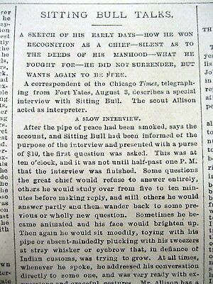 1881 newspaper Sioux Indian Chief SITTING BULL interviewed - Tells why he fought