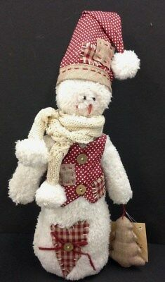 "Plush Snowman. Weighted Bottom~Holding Plush Christmas Tree~Hat~Scarf.12 1/2"" T"