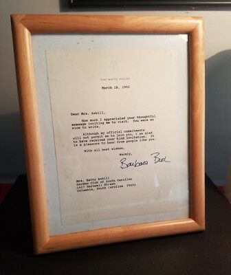1992 White House Letter Signed By Barbara Bush
