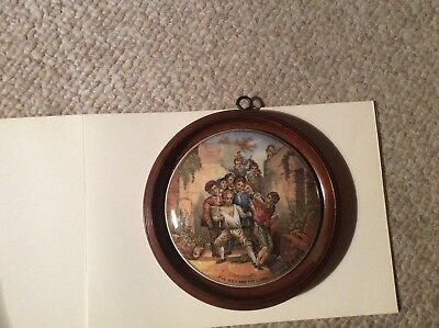 Antique 19th Century Framed Pot Lid - The Wolf and the Lamb