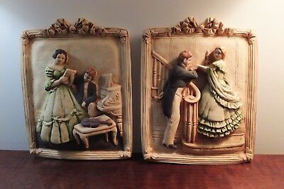 Beautiful Pair Antique Chalk Wall Art Southern Belles & Gentlemen Very Rare!