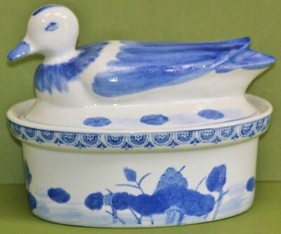 """Blue & White Oval Dish With """"Duck"""" Lid"""