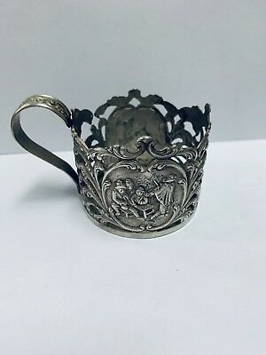 Antique Glass Cup Holder in Silver Ton Metal With Design