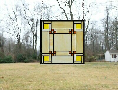 """Stained Glass Window Frank Lloyd Wright Panel Prairie style 15.75"""" x 15.75"""""""