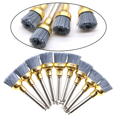 10Pc Dental Silicone Carbide Nylon Flat Bowl Polishing Polisher Prophy Brushes