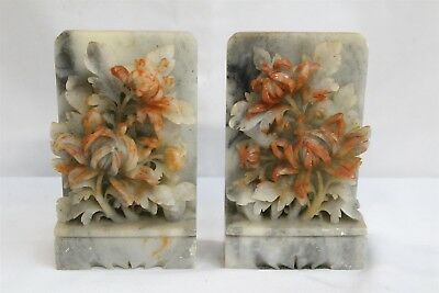MM Vintage Chinese Hand Carved Light Soapstone Bookends Flower Baskets Signed