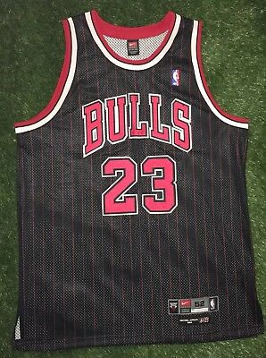 super popular 9bde2 e334b VINTAGE NIKE NBA Chicago Bulls Jordan Jersey Authentic Pinstripe Men's 2XL  black