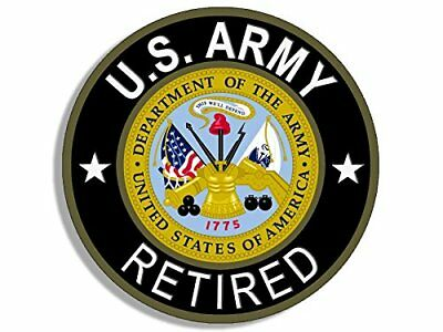4x4 inch Round U.S. Army RETIRED Sticker (Bumper Vet Veteran us Military logo)
