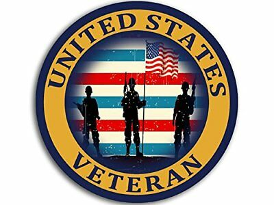 4x4 inch Round United States VETERAN w SOLDIERS and FLAG Sticker (logo vet army)