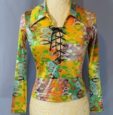 VINTAGE Ladies PSYCHEDELIC Shirt Lace-Up XS/S  LIP SERVICE Los Angeles