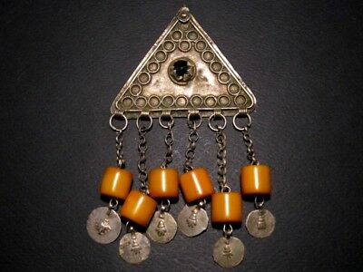 RARE ANTIQUE 1800's. BILLON JEWELRY WITH YELLOW AMBER PENDANTS from the BALKANS!