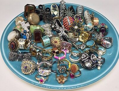 Fashion Costume Rings ~ Jewelry Ring Lot Vintage Mod Rhinestone Cocktail Stretch
