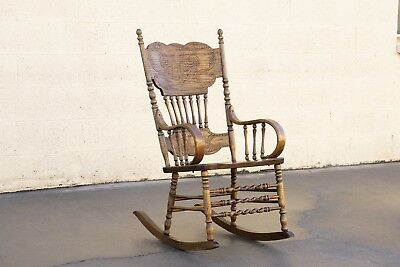 Vintage Oak Rocking Chair with Pressed Back Design, Antique Style