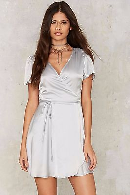 Nasty Gal Glamorous Have You Ever Mini Abito Argento TAGLIA M ng27