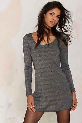 Nasty Gal Donna Grigio After Party Vintage Silver Bullet Mini Abito ng4