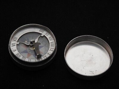 Vintage Compass with sundial Aluminum Glass lens
