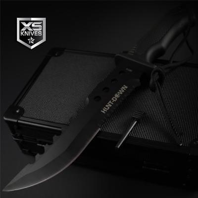 """Tactical BLACK Combat BOWIE Survival FIRE STARTER Fixed Blade Hunting Knife 12"""""""