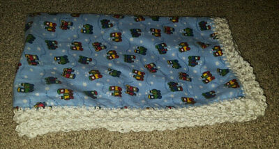 Baby Boy Flannel Crochet Blanket Throw Blue Toy Trains White Handmade Swaddle Nu