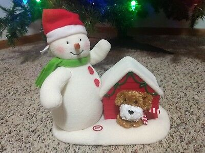 2011 Hallmark Jingle Pals Deck The Halls Singing Snowman Dog & Lighted Doghouse