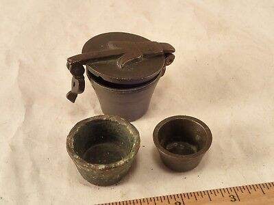 Antique Solid Brass Nesting Apothecary Scale Balance Weights Cups - 3 pieces