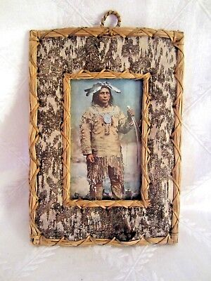 Vintage Birch Bark Frame-Made in Canada-Postcard of Ojibwa Brave Indian