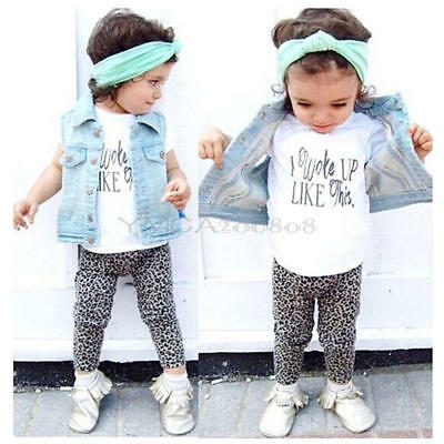 Cotton Toddler Kids Baby Girls T-shirt Tops+Pants/ Outfits Clothes 2PCS Set 2-7Y