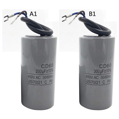 AC Motor Capacitor 200UF/300UF-CD60 450V Machine Start Running Capacitor Grey
