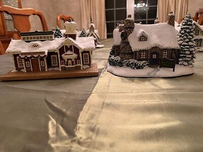 Lot 2 Thomas Kinkade Hawthorne Village Christmas Station Stonehearth Restaurant